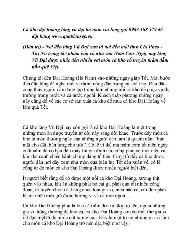 Cá kho đại hoàng làng vũ đại hà nam vui long gọi 0983.168.379 để    đặt hàng www.quabieusep.vn(Dân trí) - Nói đến làng Vũ ...