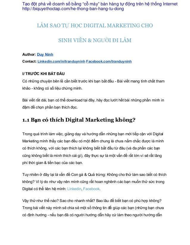 LÀM SAO TỰ HỌC DIGITAL MARKETING CHO SINH VIÊN & NGƯỜI ĐI LÀM Author:DuyNinh Contact:Linkedin.com/in/tranduyninhFace...