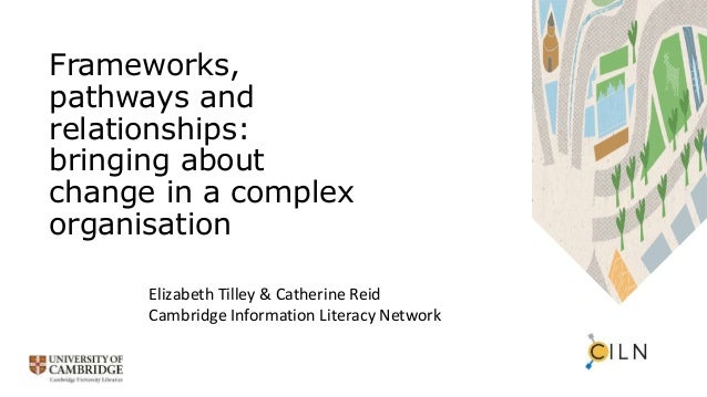 Frameworks, pathways and relationships: bringing about change in a complex organisation Elizabeth Tilley & Catherine Reid ...
