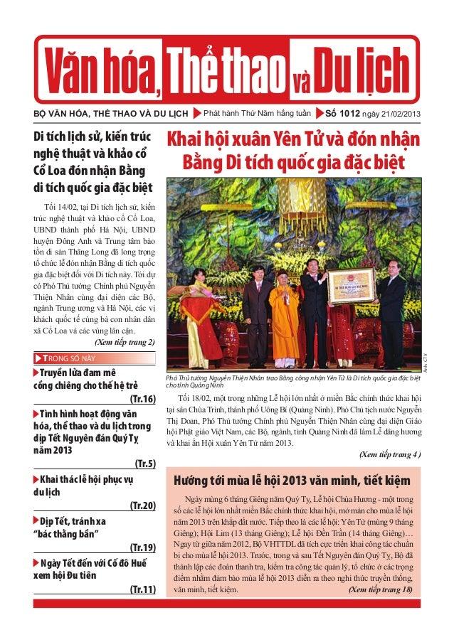 Phát hành Thứ Năm hằng tuầnbộ văn hóa, thể thao và du lịch Số 1012 ngày 21/02/2013 - Truyền lửa đam mê cồng chiêng cho thế...