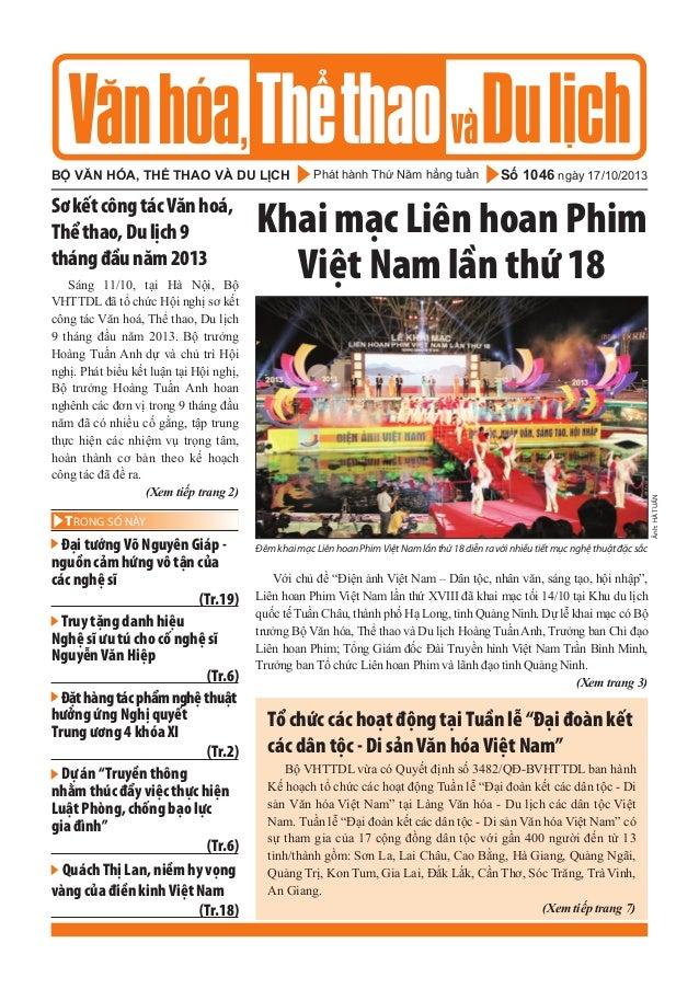 bộ văn hóa, thể thao và du lịch  Sáng 11/10, tại Hà Nội, Bộ VHTTDL đã tổ chức Hội nghị sơ kết công tác Văn hoá, Thể thao, ...