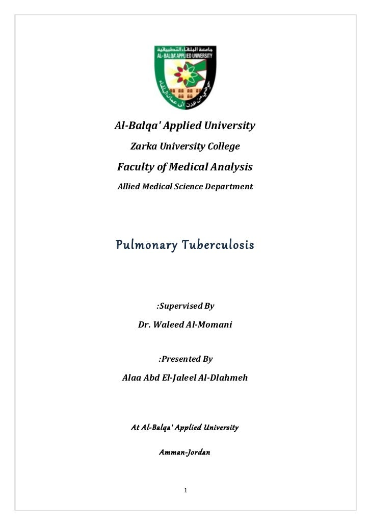 Al-Balqa Applied University   Zarka University CollegeFaculty of Medical AnalysisAllied Medical Science DepartmentPulmonar...