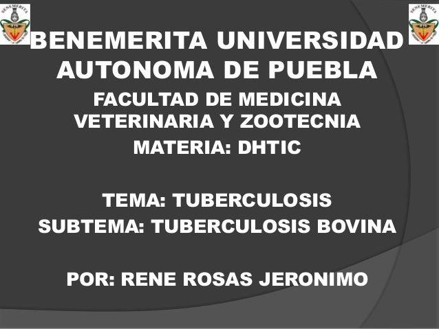 BENEMERITA UNIVERSIDAD AUTONOMA DE PUEBLA FACULTAD DE MEDICINA VETERINARIA Y ZOOTECNIA MATERIA: DHTIC TEMA: TUBERCULOSIS S...