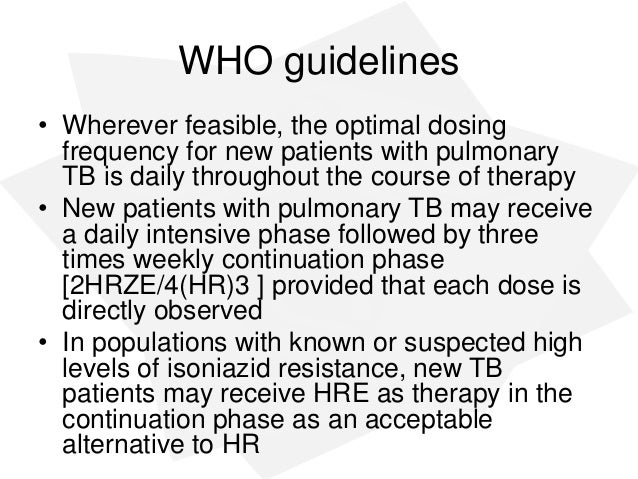 management of tuberculosis who guidelines