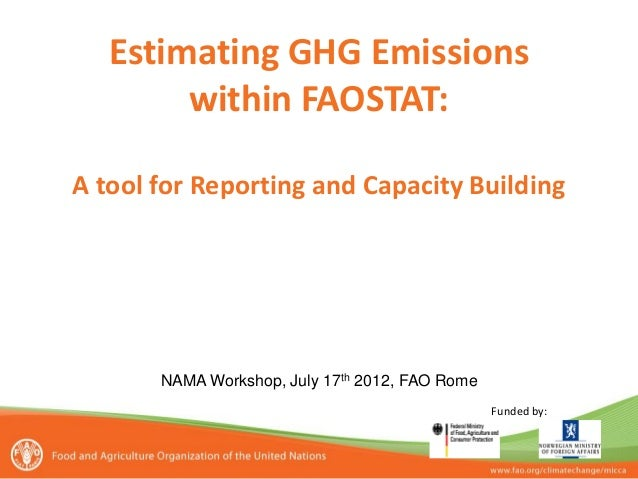 Estimating GHG Emissions within FAOSTAT: A tool for Reporting and Capacity Building  Funded by:  NAMA Workshop, July 17th ...