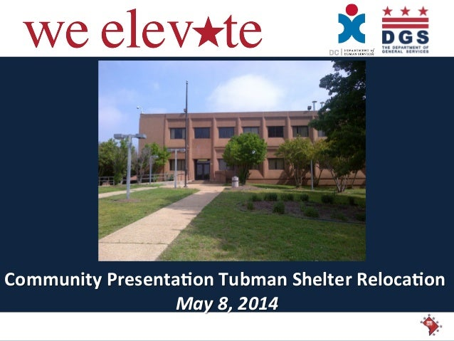 Community  Presenta/on  Tubman  Shelter  Reloca/on   May  8,  2014
