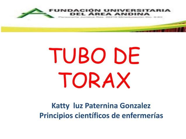 TUBO DE  TORAX  Katty luz Paternina Gonzalez  Principios científicos de enfermerías