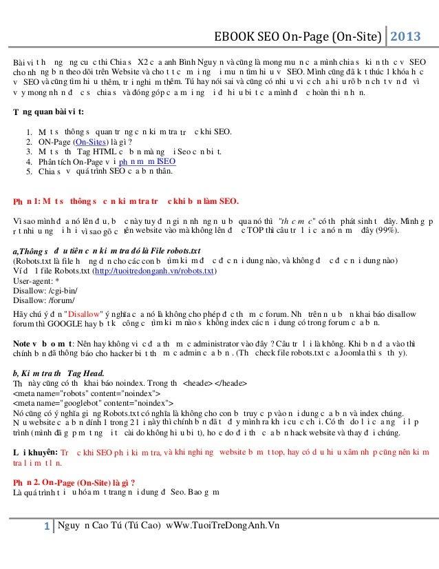 EBOOK SEO On-Page (On-Site) 2013 1 Nguyễn Cao Tú (Tú Cao) wWw.TuoiTreDongAnh.Vn Bài viết hưởng ứng cuộc thi Chia sẻ X2 của...