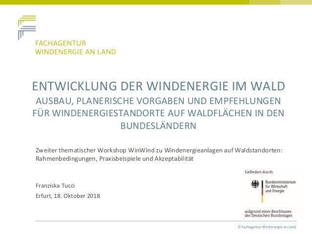 © Fachagentur Windenergie an Land ENTWICKLUNG DER WINDENERGIE IM WALD AUSBAU, PLANERISCHE VORGABEN UND EMPFEHLUNGEN FÜR WI...