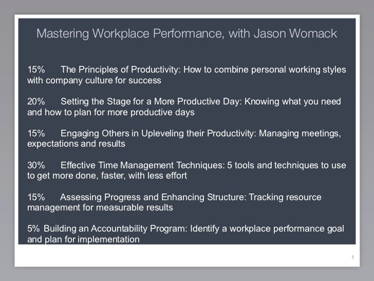 Mastering Workplace Performance, with Jason Womack15%     The Principles of Productivity: How to combine personal working ...