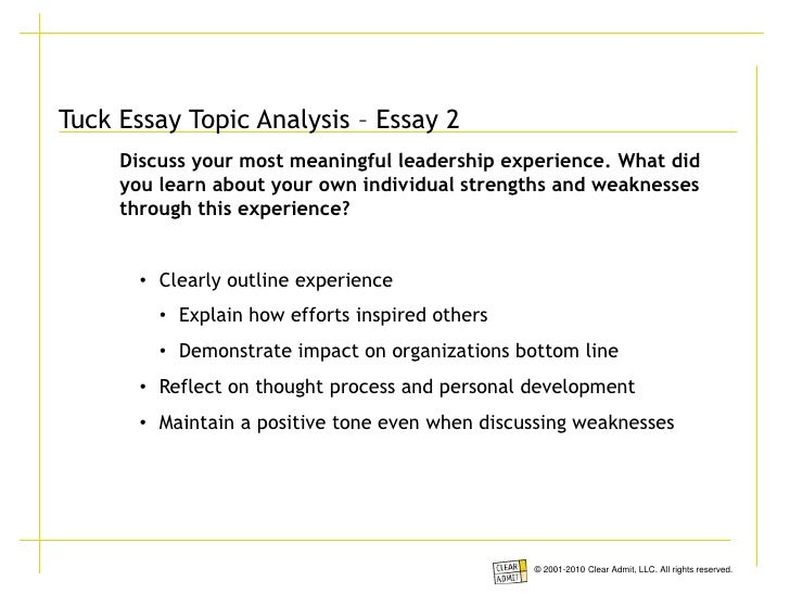 dartmouth tuck essay analysis Clear admit is a leading provider of mba news & advice its school guides enable top-tier candidates to become experts on their target schools overnight use promocode cabtg20 for 20% off now that tuck has announced the tuck mba essay topics for the 2016-2017 admissions season, we wanted to offer.