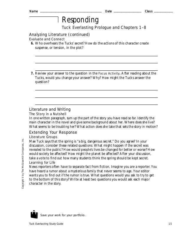 Tuck evelasting guide – Tuck Everlasting Worksheets
