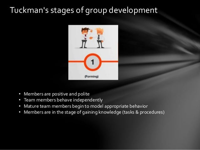 various stages of group developement Smith also concluded that the order of development would be different for various groups although lacoursiere observed four stages of group development: 1.