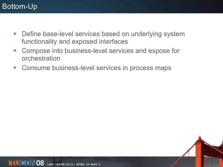 Bottom-Up <ul><li>Define base-level services based on underlying system functionality and exposed interfaces </li></ul><ul...