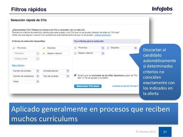 21 Filtros rápidos © InfoJobs 2012 Descartan al candidato automáticamente si determinados criterios no coinciden exactamen...