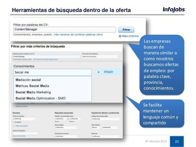 22 Herramientas de búsqueda dentro de la oferta © InfoJobs 2012 Las empresas buscan de manera similar a como nosotros busc...