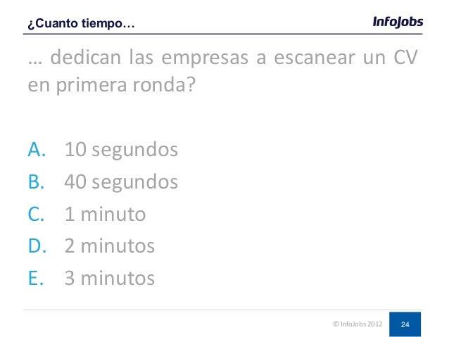 24 … dedican las empresas a escanear un CV en primera ronda? A. 10 segundos B. 40 segundos C. 1 minuto D. 2 minutos E. 3 m...
