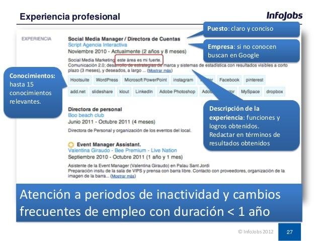27 Experiencia profesional © InfoJobs 2012 Puesto: claro y conciso Empresa: si no conocen buscan en Google Descripción de ...
