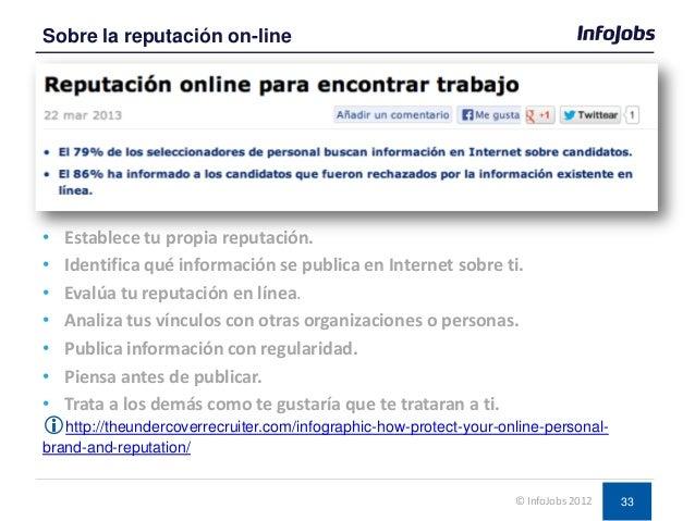 33 • Establece tu propia reputación. • Identifica qué información se publica en Internet sobre ti. • Evalúa tu reputación ...