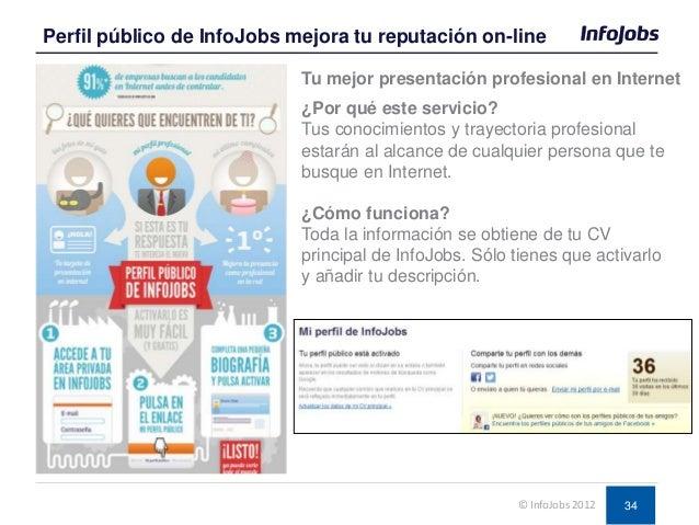 34 Perfil público de InfoJobs mejora tu reputación on-line © InfoJobs 2012 ¿Por qué este servicio? Tus conocimientos y tra...