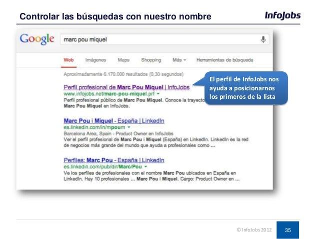 35 Controlar las búsquedas con nuestro nombre © InfoJobs 2012 El perfil de InfoJobs nos ayuda a posicionarnos los primeros...