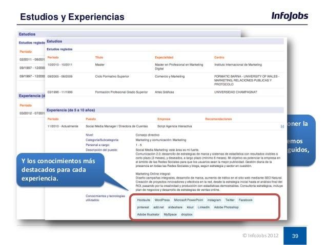 39 Estudios y Experiencias © InfoJobs 2012 Recordar siempre poner la descripción de las experiencias, que hemos hecho, log...