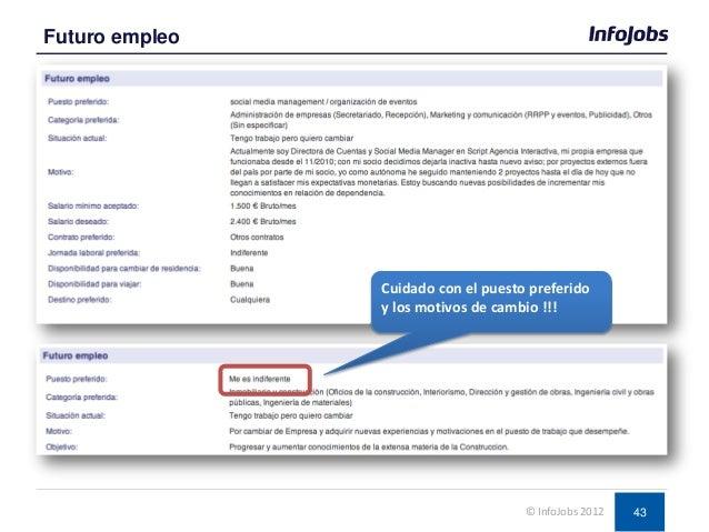 43 Futuro empleo © InfoJobs 2012 Cuidado con el puesto preferido y los motivos de cambio !!!