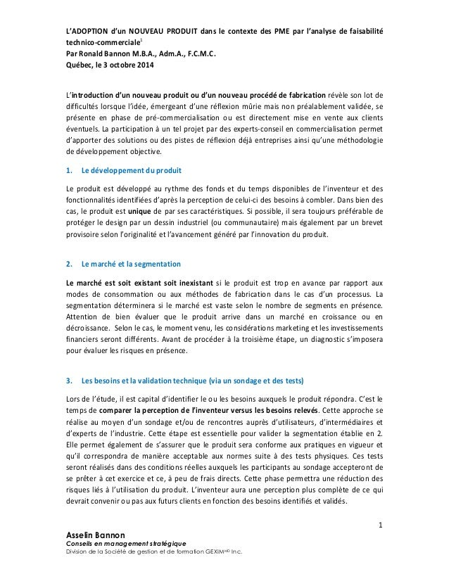 L'ADOPTION d'un NOUVEAU PRODUIT dans le contexte des PME par l'analyse de faisabilité technico-commerciale1 Par Ronald Ban...