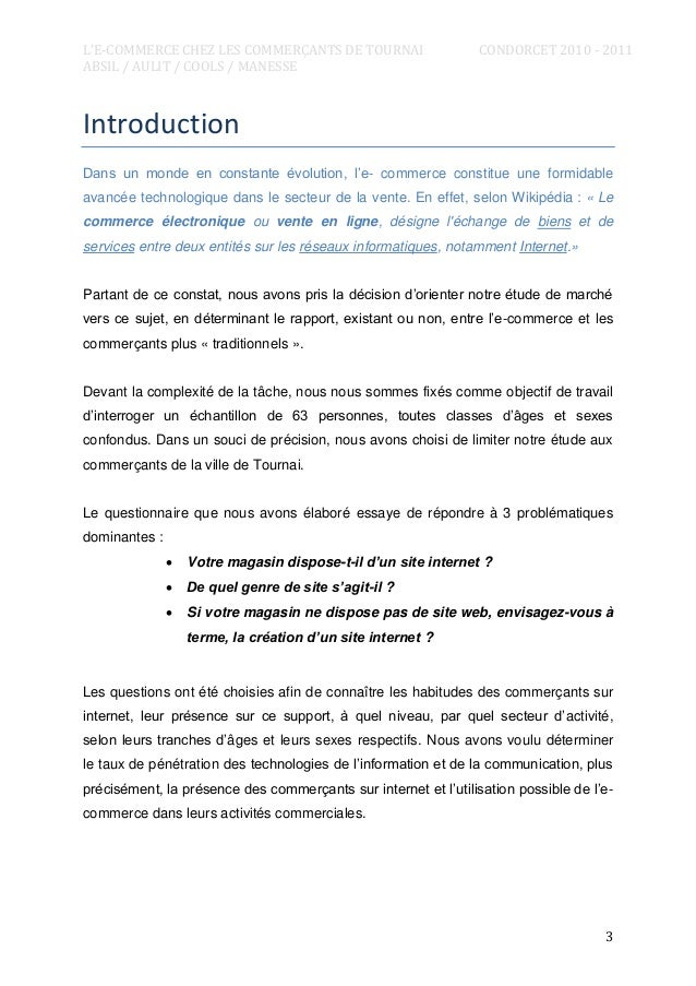L'E-COMMERCE CHEZ LES COMMERÇANTS DE TOURNAI ABSIL / AULIT / COOLS / MANESSE  CONDORCET 2010 - 2011  Introduction Dans un ...