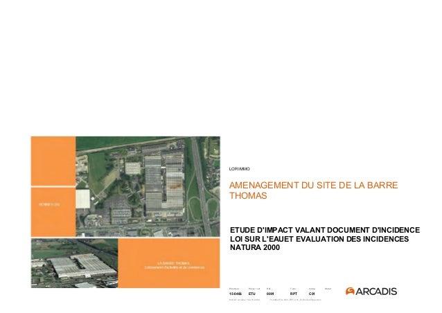 Emetteur Phase / cat Réf Type Indice Statut 15-0466 ETU 0001 RPT C01 Réf Aff. Arcadis / 182-15-0466 15-0466-ETU-0001-RPT-C...