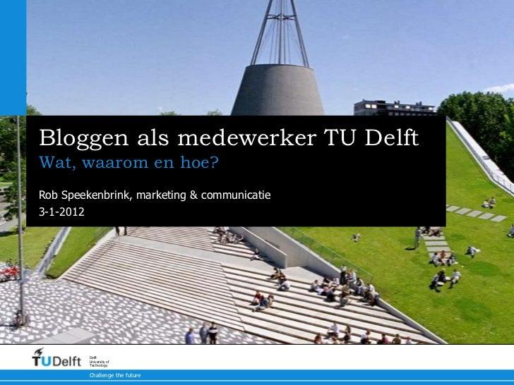 Bloggen als medewerker TU DelftWat, waarom en hoe?Rob Speekenbrink, marketing & communicatie3-1-2012         Delft        ...