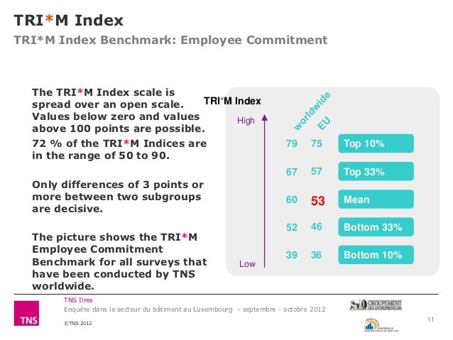 TRI*M IndexTRI*M Index Benchmark: Employee Commitment  The TRI*M Index scale is  spread over an open scale.    TRI*M Index...