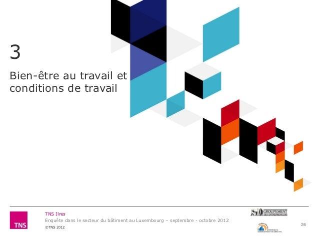 3Bien-être au travail etconditions de travail      TNS Ilres      Enquête dans le secteur du bâtiment au Luxembourg – sept...