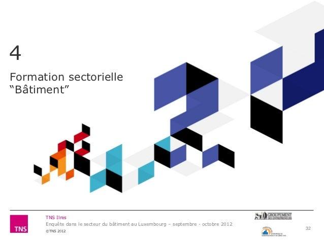 """4Formation sectorielle""""Bâtiment""""      TNS Ilres      Enquête dans le secteur du bâtiment au Luxembourg – septembre - octob..."""