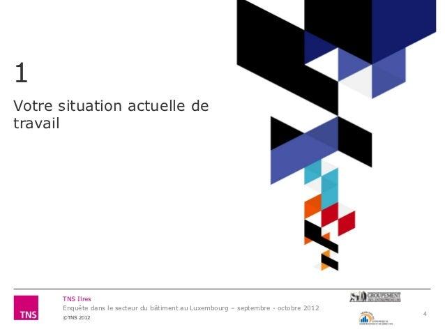 1Votre situation actuelle detravail      TNS Ilres      Enquête dans le secteur du bâtiment au Luxembourg – septembre - oc...