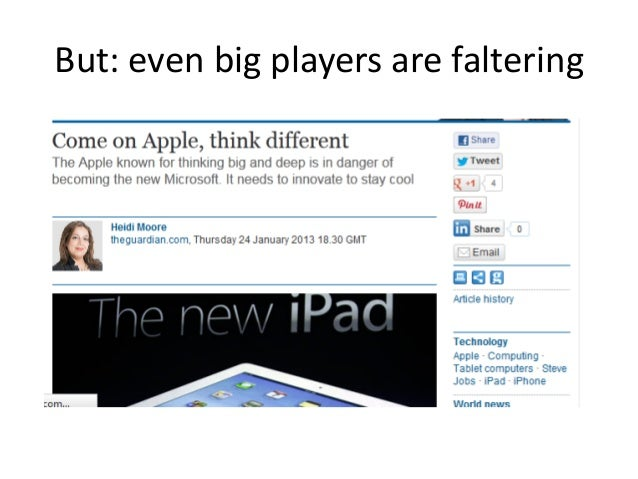 But: even big players are faltering