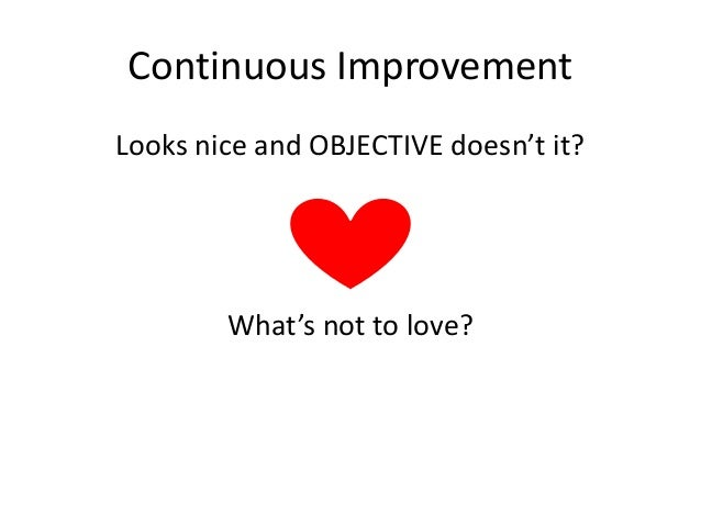 Continuous Improvement Looks nice and OBJECTIVE doesn't it?  What's not to love?