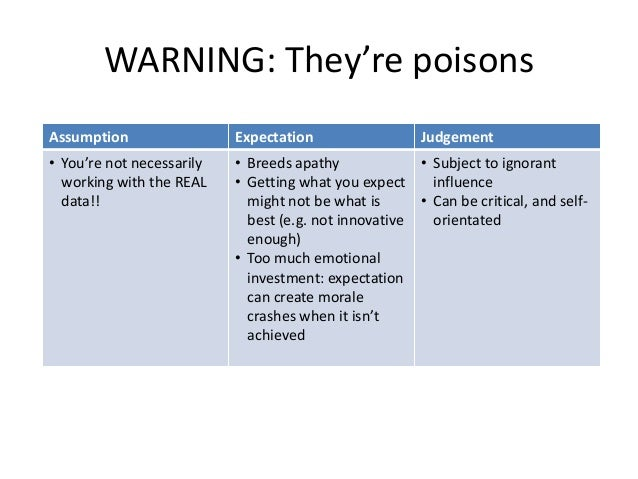 WARNING: They're poisons Assumption  Expectation  Judgement  • You're not necessarily working with the REAL data!!  • Bree...