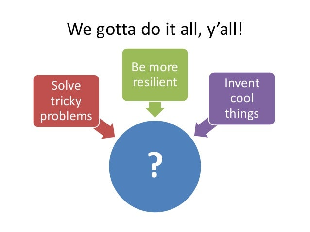 We gotta do it all, y'all! Solve tricky problems  Be more resilient  ?  Invent cool things