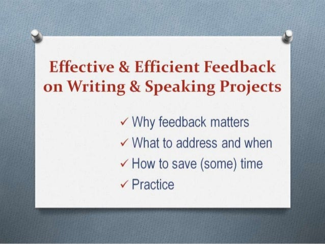 Giving Feedback on Speaking & Writing