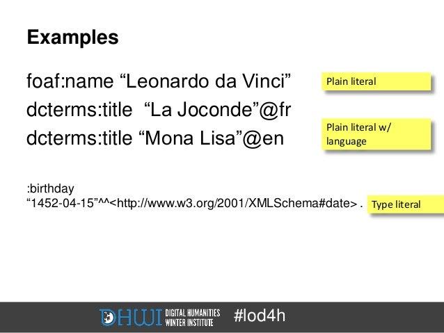 "Examplesfoaf:name ""Leonardo da Vinci""                      Plain literaldcterms:title ""La Joconde""@fr                     ..."