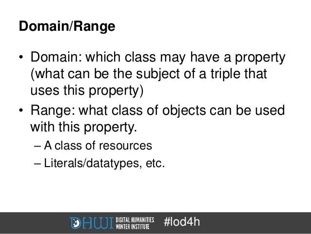 Domain/Range• Domain: which class may have a property  (what can be the subject of a triple that  uses this property)• Ran...