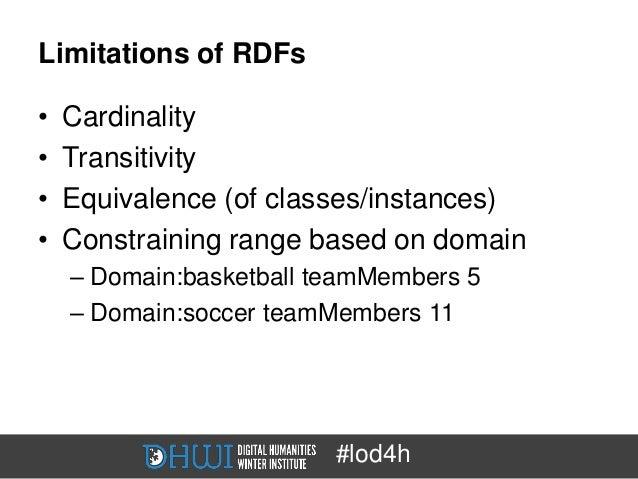 Limitations of RDFs•   Cardinality•   Transitivity•   Equivalence (of classes/instances)•   Constraining range based on do...