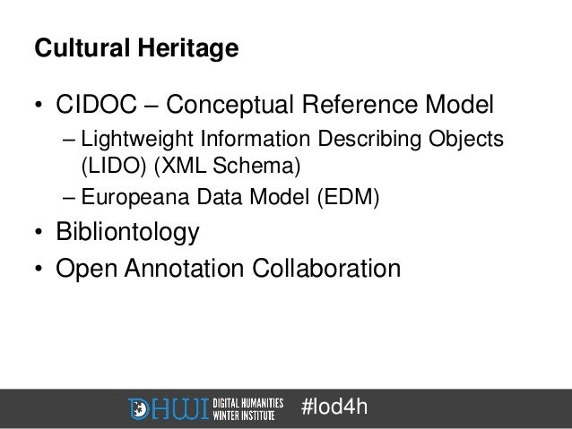 Cultural Heritage• CIDOC – Conceptual Reference Model  – Lightweight Information Describing Objects    (LIDO) (XML Schema)...