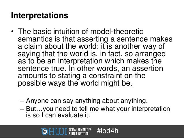 Interpretations• The basic intuition of model-theoretic  semantics is that asserting a sentence makes  a claim about the w...