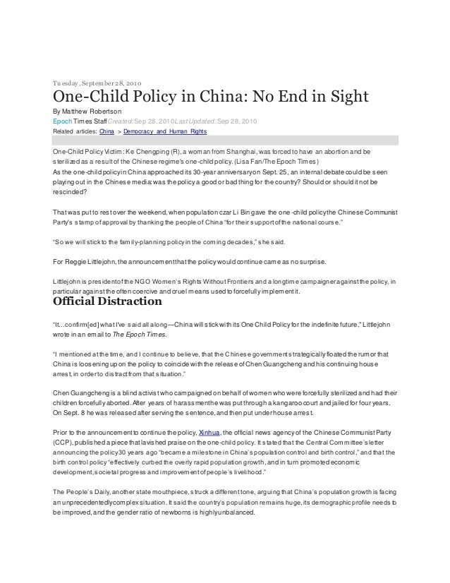 Tuesday,September 28, 2010 One-Child Policy in China: No End in Sight By Matthew Robertson Epoch Times StaffCreated:Sep 28...