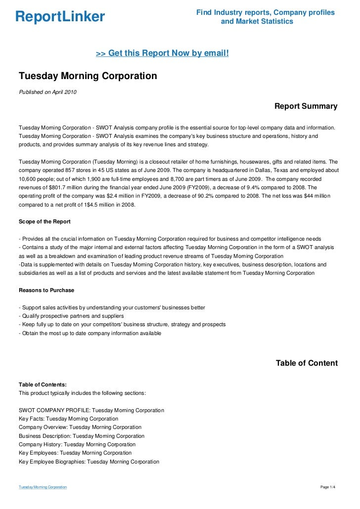 an overview of the tuesday morning corporation Find company research, competitor information, contact details & financial data  for tuesday morning corporation get the latest business insights from d&b.