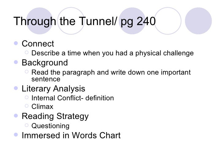 through the tunnel literary analysis