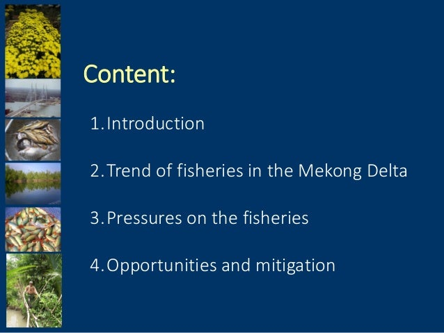 Content: 1.Introduction 2.Trend of fisheries in the Mekong Delta 3.Pressures on the fisheries 4.Opportunities and mitigati...