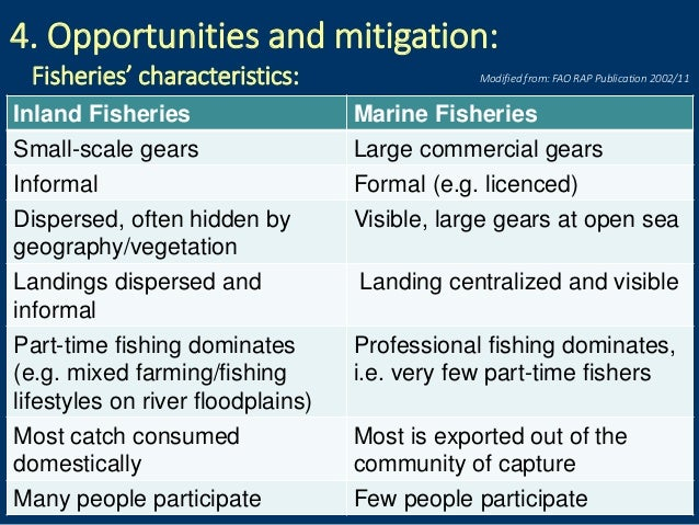 4. Opportunities and mitigation: Fisheries' characteristics: Inland Fisheries Marine Fisheries Small-scale gears Large com...
